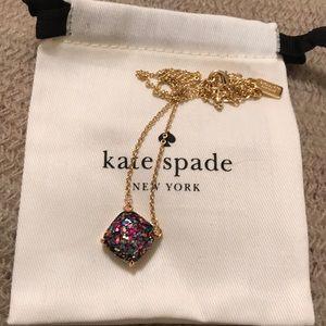NWOT Kate Spade Square Multi Glitter Necklace